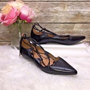 Topshop Black Leather Lace Up Flats